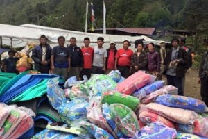 Workers with donated goods